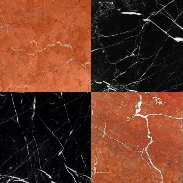 Chess Effect Nero Marquina & Rojo Alicante marble tile