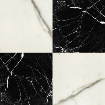 Chess Effect Nero Marquina & Statuario marble tile